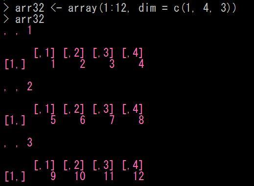 Rで配列アレイを生成する