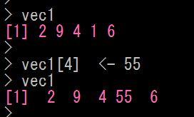Rでベクトルの特定の要素に代入する