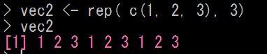 Rで繰り返しの値のベクトルをつくる