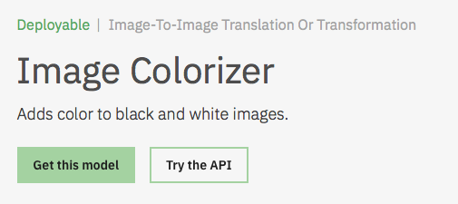 Image Colorizer Model Asset Exchange ディープラーニング 学習済みモデル 事前学習 pre-trained model 機械学習 深層学習 deep learning